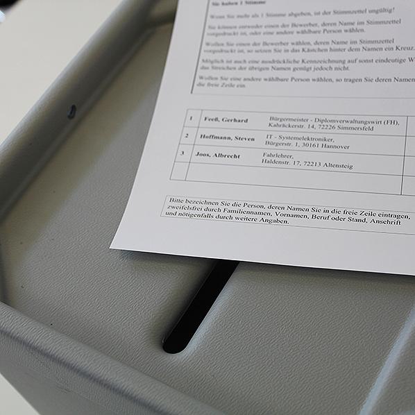 Stimmzettel für Bürgermeisterwahl
