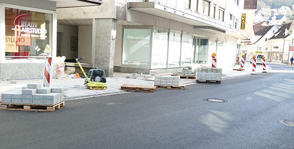 Pflasterarbeiten in der Poststraße