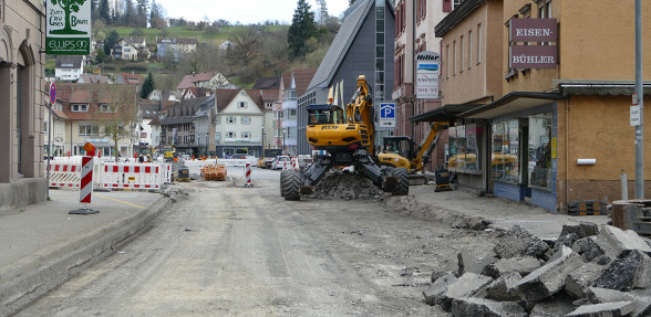 Poststraße zwischen Marktplatz und Kunsthalle abgefräst